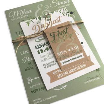 Fabulous Trouwkaartjes :: Trouwkaart hip botanisch olijfgroen labels karton @IU53